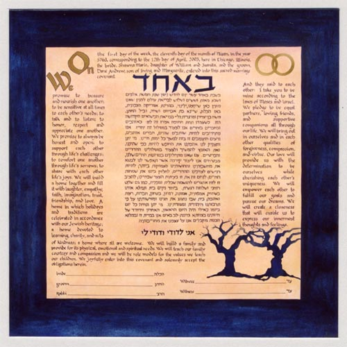 Blue and Gold Square Handmade Ketubah